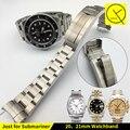 Banda de reloj Para Rolexwatch Sólido correas de Reloj de Acero Inoxidable Reloj Pulsera Accesorios de Plata 20mm 21mm Submariner Reloj de Hombre + herramienta