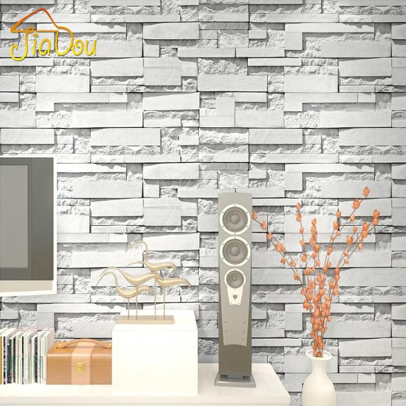 Modern 3d embossed stone brick vinyl wallpaper pvc for Wallpaper pvc 3d