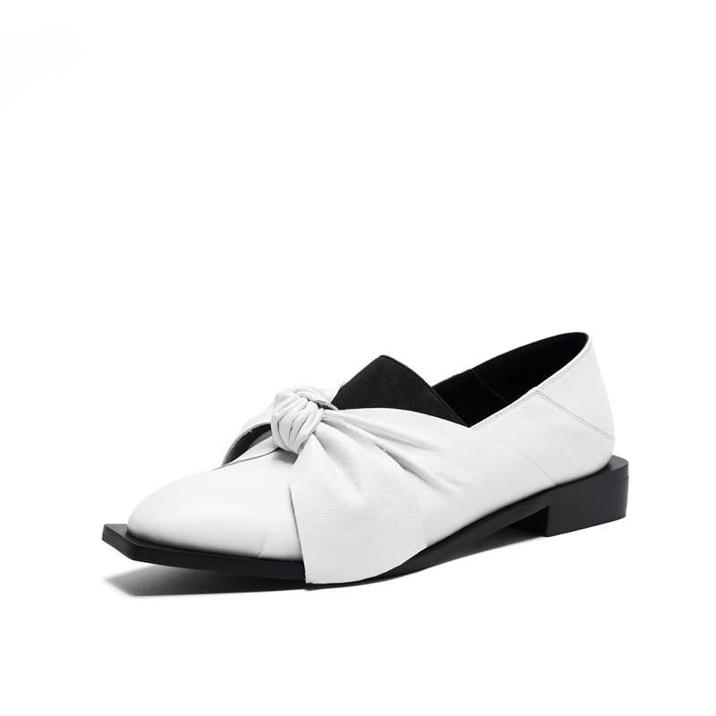 D'été Mode En 42 Glissement Des Nouvelle 2018 Casual Cuir Noir Véritable Femmes Pointu Bowknot Bout Mocassins Sur Appartements blanc Taille Moonmeek Chaussures 34 gwaEfqXnR