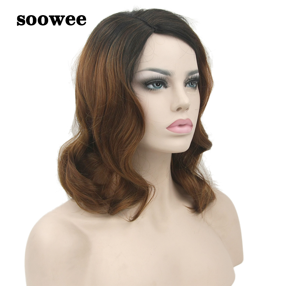 Soowee False Hair Black To Brown Ombre Wig Bady Wavy Medium Synthetic Hair Wigs-female Hairpiece Cosplay Wigs for Women