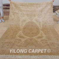 Yilong 6'x9' Hand knotted traditional carpet vantage beige handmade turkish rugs (0977)