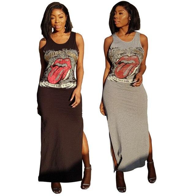 Aliexpress Com Buy Lip Print Casual Maxi Dress Women Summer