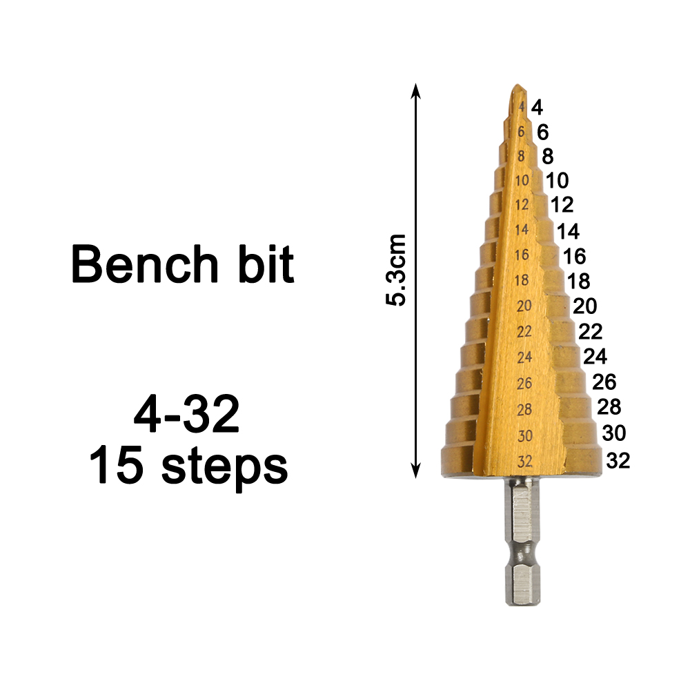 4-32 Mm HSS Titanium Coated Step Drill Bit Drilling Power Tools For Metal High Speed Steel Wood Hole Cutter Step Cone Drill