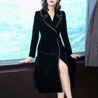 Black Velvet Women's Windbreaker Long Wind Coat Clothes Stylish Cardigan For Women Trench Female Raincoat Casaco Feminino