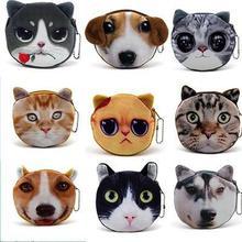 Безупречный великолепная наиболее лицом портмоне собака кошка молнии бумажник / чехол
