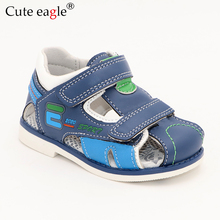 лучшая цена Cute Eagle Summer Boys Orthopedic Sandals Pu Leather Toddler Kids Shoes for Boys Closed Toe Baby Flat Shoes Size 22-27 No.A192