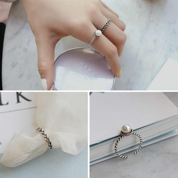 Twist EndlessTwisting Pearl 2Pcs/Set Ring Vintage Silver Jewellery Boho punk Party Open Adjustable Ring jewelry For Women Gift