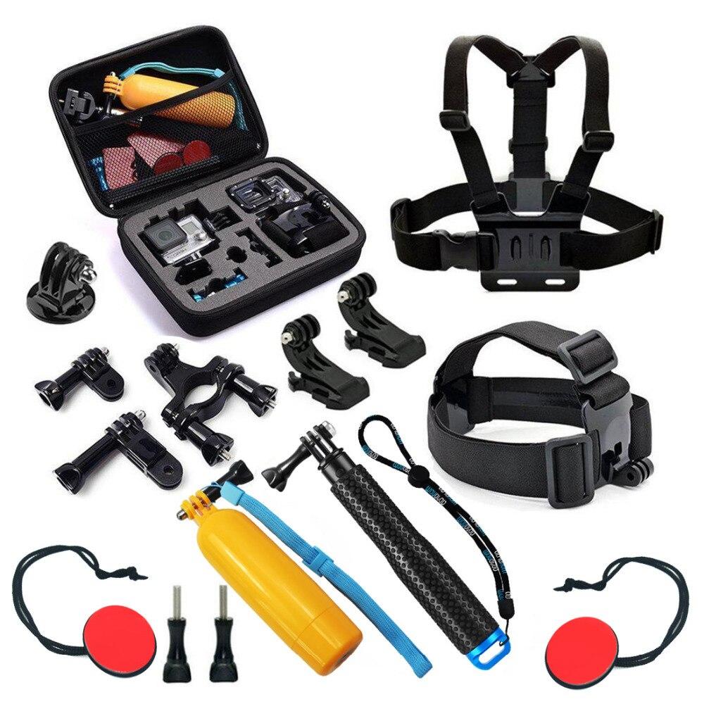 SHOOT Action Camera Selfie Accessories Set for GoPro Hero 5 4 3 SJCAM SJ4000 SJ5000x Xiaomi Yi 4K Monopod Head Chest Strap Mount miniisw m ac universal curved surface mount kit for gopro hero 4 3 3 hero2 hero sj4000 black