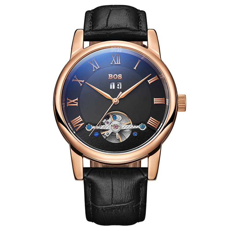 New Brand Luxury Business Multifunctional Hollow Tourbillon Automatic Mechanical Mens Leather Watch Relogio Masculino