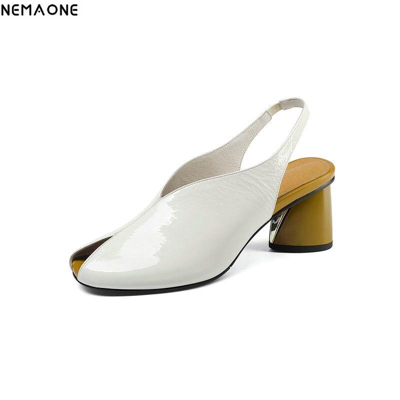 NEMAONE Brand Women Pumps Summer Buckle Slingback Shoes Handmade Woman Square low Heels Footwear