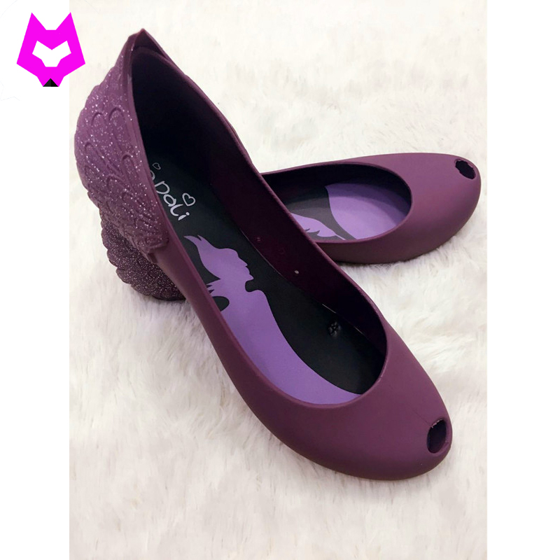купить YTracyGold 2018 Women's Jelly Shoes Low Top Peep Toe Ballet Shoes Angel Wings Sweet Women's Flat Shoes Casual Beach Ladies Flats недорого