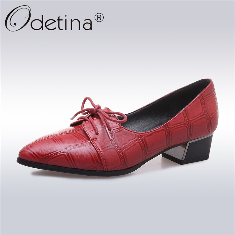 Odetina 2018 New Fashion Women Classics Shoes Chunky Heels Pointed Toe Lace Up Printing Leisure Ladies Thick Heel Big Size 32-43 women real leather flats rivets pointed toe leisure classics ladies shoes comfortable fashion new design footwear size 34 39