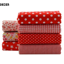 Red Series Fat Quater Bundles Printed Cotton Fabrics Telas Para Patchwork Fabric For Doll Dress DIY Crafts 7pieces/lot 50x50cm