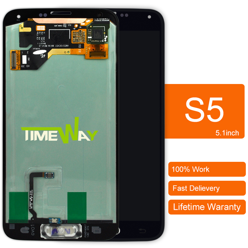 Prix pour DHL 1 pcs Pour Samsung s5 i9600 G900 lcd affichage écran avec la maison bouton 100% Garantie Noir blanc