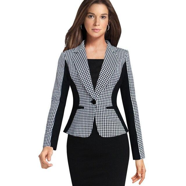 Dámská móda Houndstooth Patchwork Slim Blazers pro ženy s dlouhým rukávem, kontrastní barva, jedno tlačítko obleky, vrchní oblečení bundy