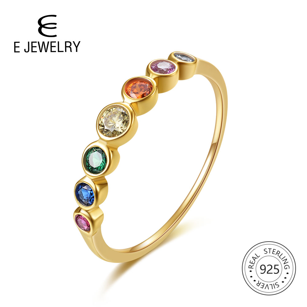 E 925 Sterling Silver Rainbow Gemstone Ring 14K Gold Plated Jewelry Rings Color Cubic Zirconia Womens Engagement Wedding Ring
