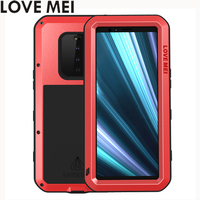 Love Mei Powerful Phone Fundas For Sony Xperia 1 Xperia1 Cover Heavy Duty Shockproof Case Silicone Metal Cover Toughened Glass
