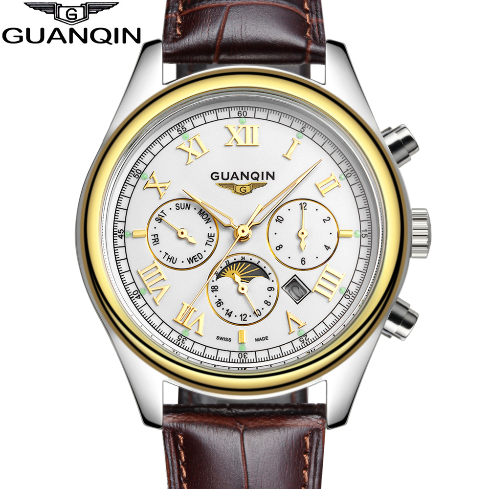 ФОТО GUANQIN New Arrival Men's Gold Watches Fashion Casual Leather Strap Moon Phase Business wristwatch Men Quartz Watches male Clock