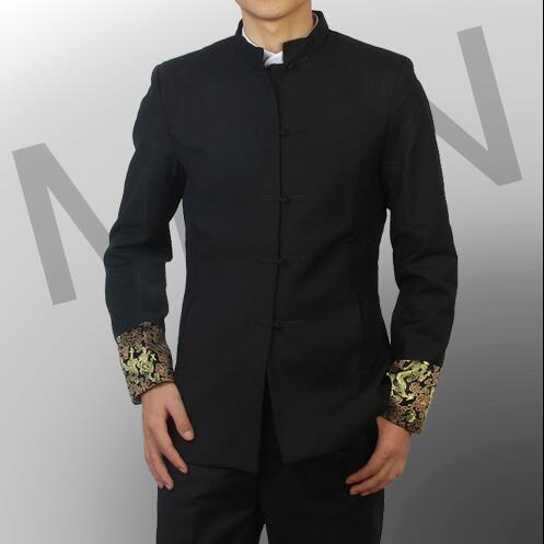 Single-breasted chinese túnica terno dos homens conjunto terno mais recentes modelos casaco calça projetos ternos para os homens do noivo do casamento dos homens ternos de vestido com calças