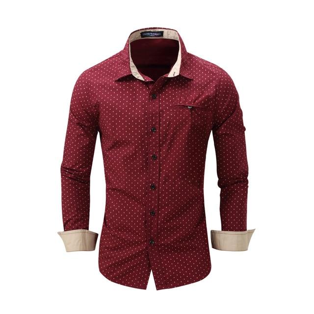 2b2affaacd Moda Hombre Camisa de Vestir de Manga Larga Rojo Bandas Cuello Diseñador  Ocasional de Fácil Cuidado
