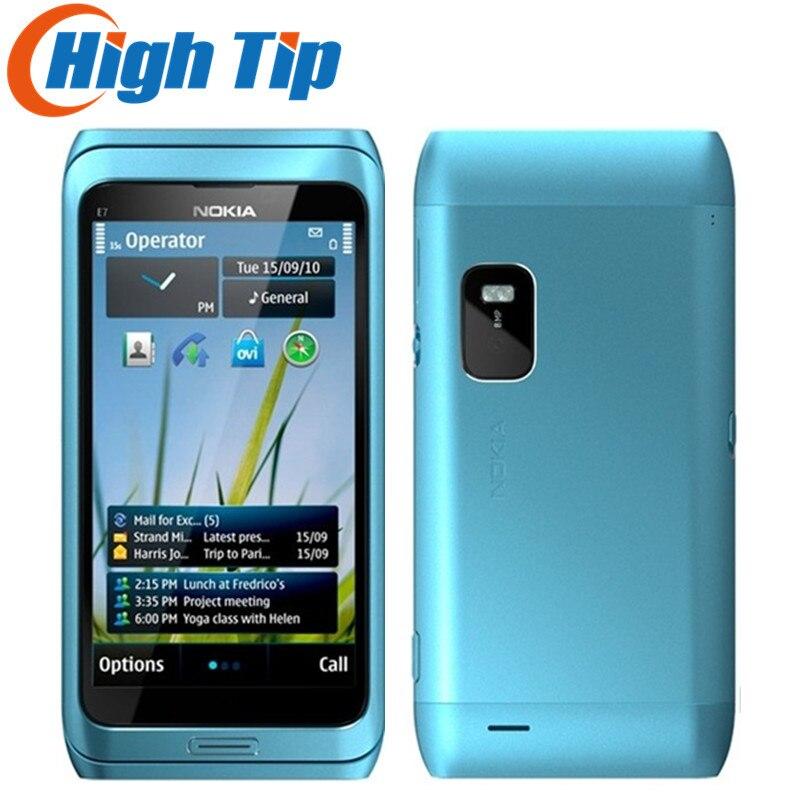 Russian QWERTY Keyboard Nokia Unlocked Original cell phones E7 wifi 8.0MP camera,4.0 capacitive screen 3G phone GPS Refurbished