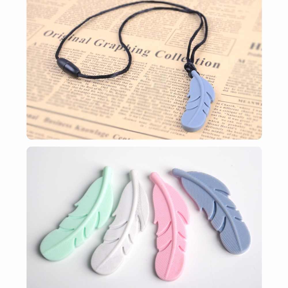 Детское Зубное кольцо для ребенка перо кулон Силиконовая пустышка жевательная игрушка ожерелье-прорезыватель
