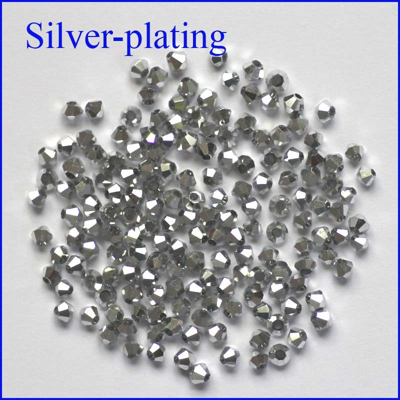 200pcs 3mm Silver Color Plating Bicone 5301 Austria Glass Spacer Loose Beads For DIY Fashion Jewelry Making Free Shipping