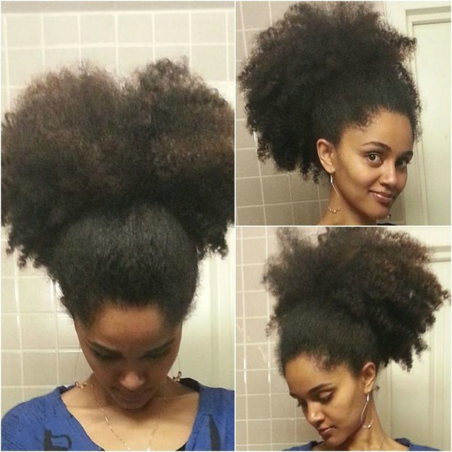 Cheap Hot 14inch Natural Hair Puff 100 Human Hair Afro Kinky Curly