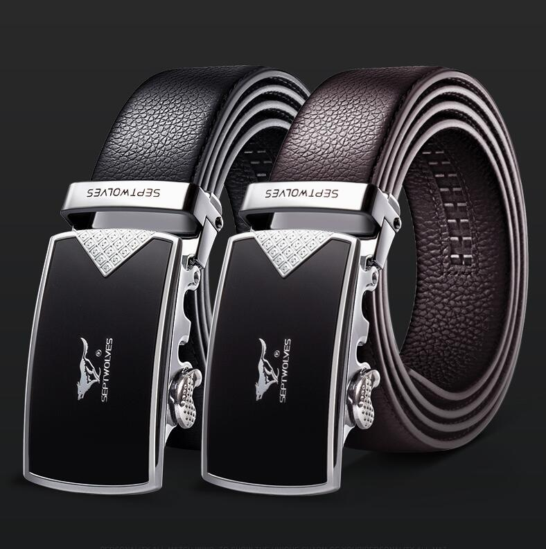 Male leather genuine belt black fashion Original Natural Cowskin Belt alloy luxury automatic buckle youth leather  business Belt