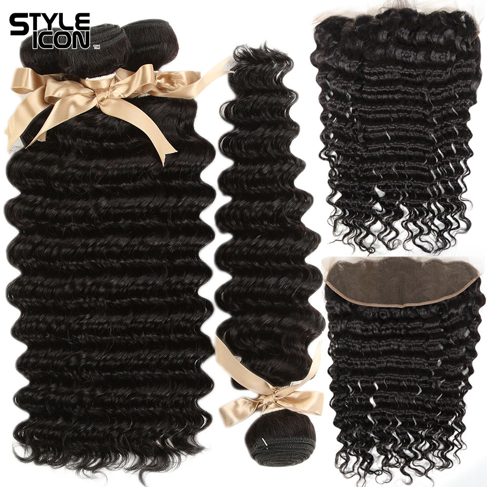 Styleicon Peruvian Loose Deep Wave Bundles With Frontal 3 Bundles Non-Remy Deep Wave With Closure Deepwave Bundles With Frontal
