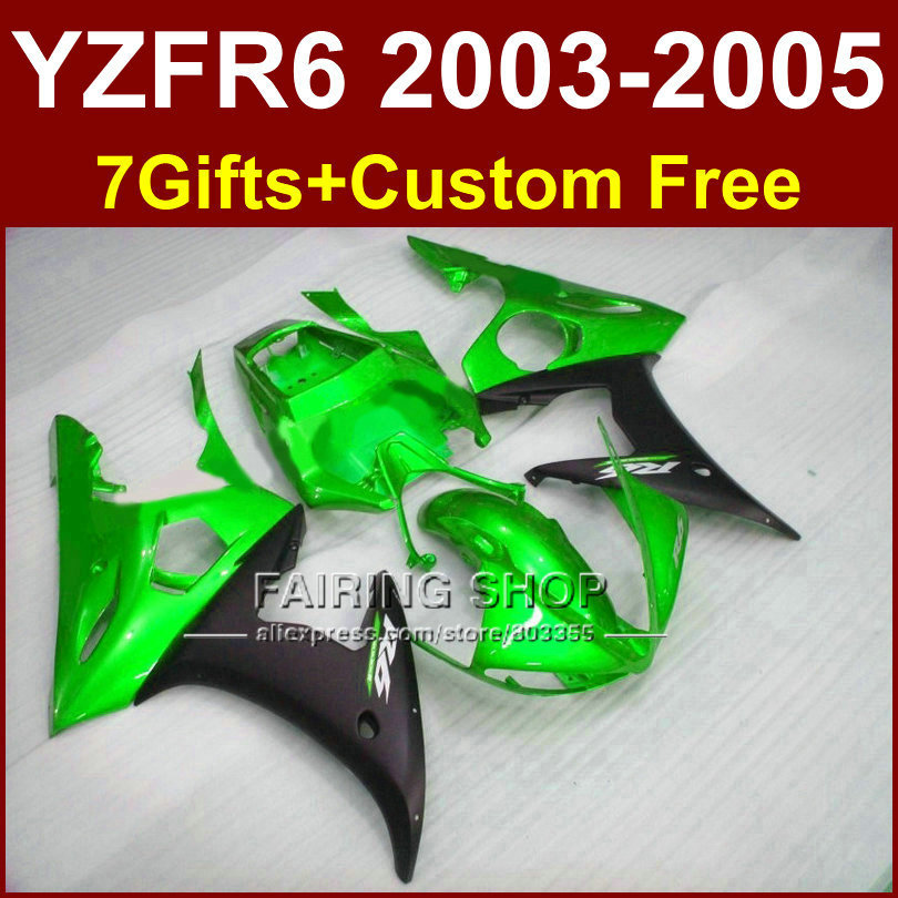 Bright green body repair parts for YAMAHA r6 fairing kit 03 04 05 Motorcycle fairings sets YZF R6 2003 2004 2005 I86G red black moto fairing kit for yamaha yzf600 yzf 600 r6 yzf r6 1998 2002 98 02 fairings custom made motorcycle bodywork c821
