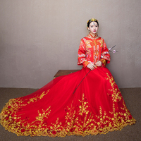 Red Chinese Wedding Bride Cheongsam Dress Traditional Wedding banquet toast Costume Dragon phoenix Embroidery Gown Qipao