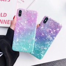 Luxury painted mother of pearl phone cases For iphone X XS XR XS MAX case For iphone 6 6s 7 8plus glossy TPU soft shell cover
