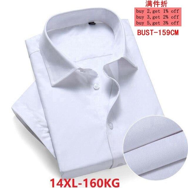 حجم كبير 10XL 11XL 12XL 13XL 14XL مكتب الأعمال الراحة الصيف الرجال فستان قصير الأكمام التلبيب قميص أبيض 8XL 9XL