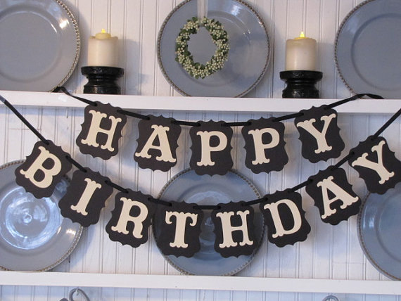 Cozy HAPPY BIRTHDAY Black Paper Bunting Pennant Flags Banner Garland for Baby Birthday Home Party DIY Decorative Supplies