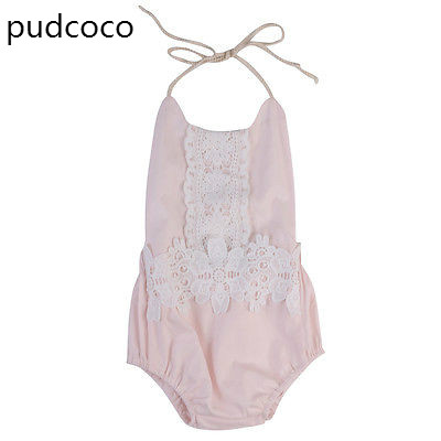 Cute Infant Toddler Baby Girls Lace Floral Rompers Sleeveless one Piece Backless jumpsuit Playsuits Sunsuit Clothes Pink 0-24M