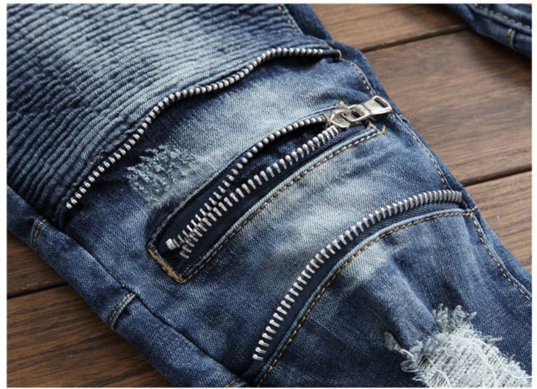 2018 New Fashion Mens Patchwork Slim Jeans Zipper Ripped Hole fit Straight Man Denim Biker Motor Personal Pants