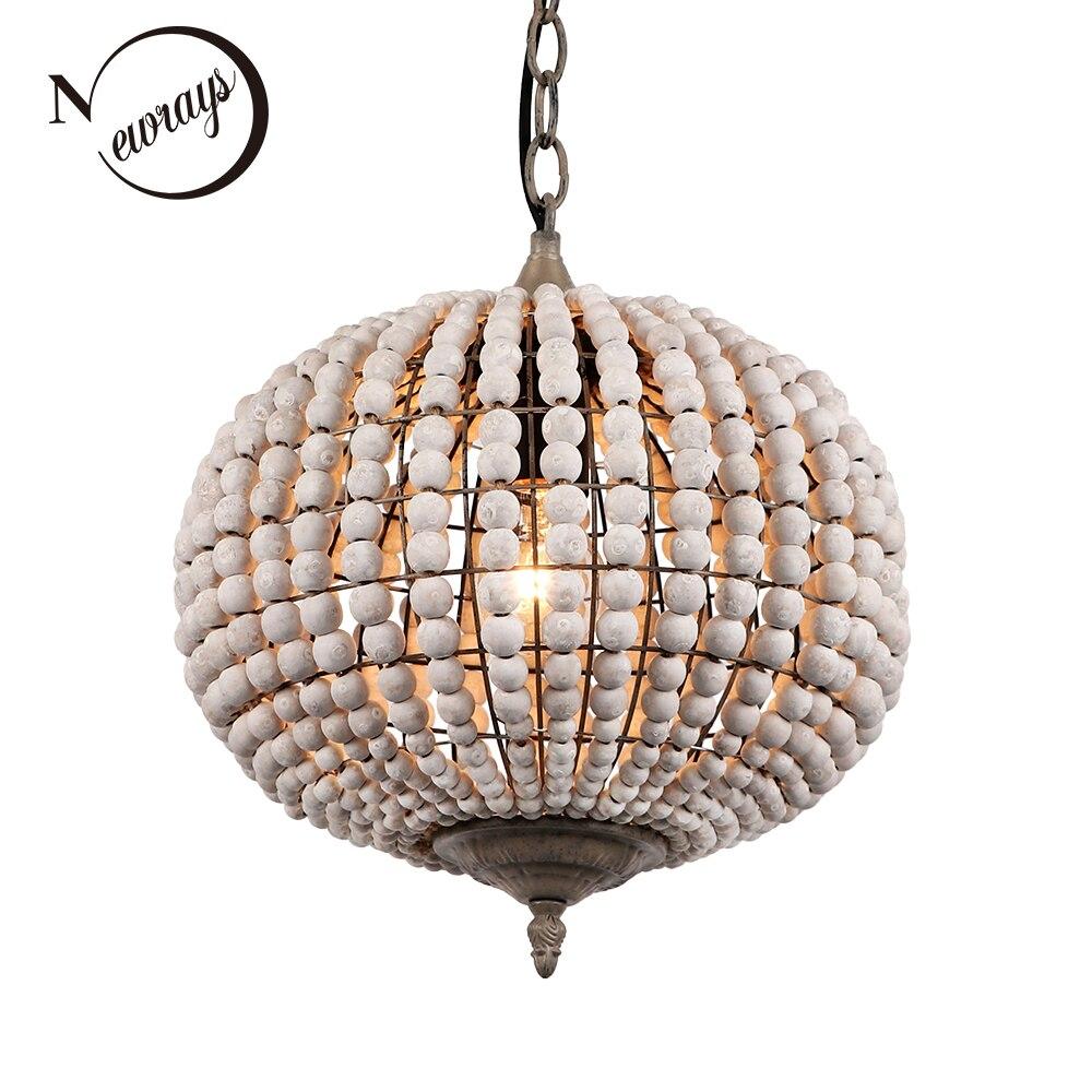 Europe Loft vintage country ball wooden bead pendant lights E27 led hanging lamp modern for living room hotel kitchen restaurant