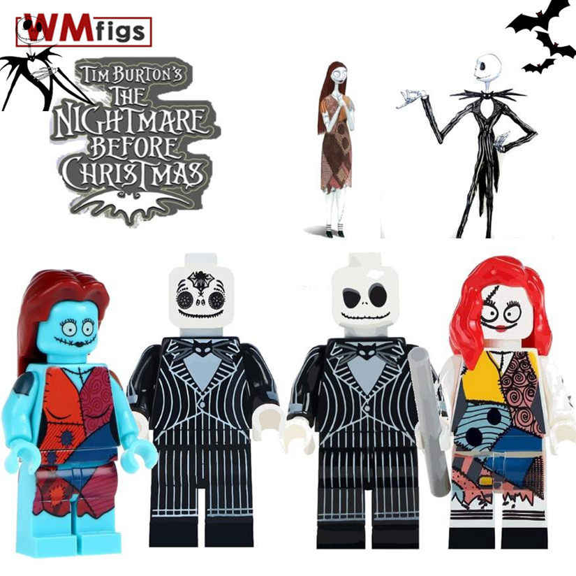 Horror Halloween Jack Skellington Esqueleto de James Bond Coco Day of the Dead Sally Esqueleto Building Block Brinquedos Presentes para Crianças