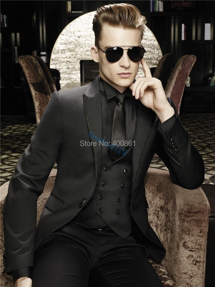 Sexy Black Groom Tuxedos Notch Lapel Men Prom Suit Business Suit (Jacket+Pants+Vest+Tie+Kerchief) OK:1251