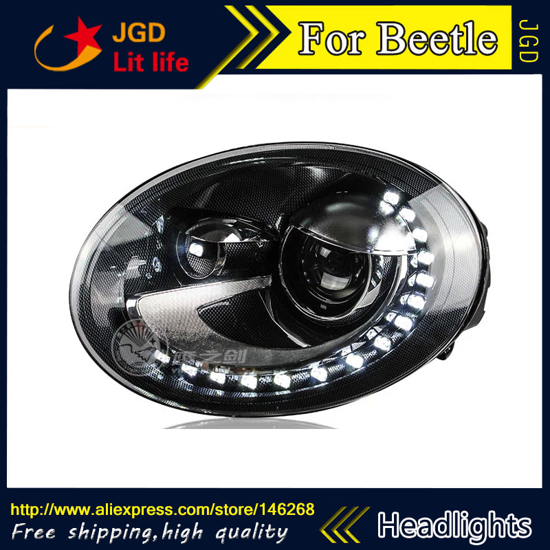 Free shipping ! Car styling LED HID Rio LED headlights Head Lamp case for VW Beetle 2013 2014 Bi-Xenon Lens low beam car styling front lamps for vw for volkswagen beetle headlights with hid kit 2013 2015 year ld