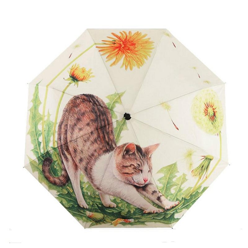 Windproof Travel Umbrella Compact Three Folding Lightweight Portable Parasol Cartoon Cat Umbrellas For Women Gift Choice