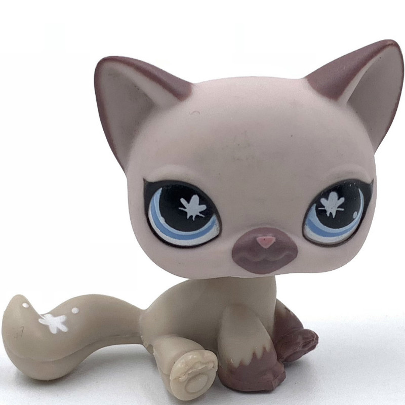 Real Pet Shop Toys SIAMESE Cat #664 Purple Kitty Old Original Toy For Children Free Shipping