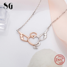 SG Angel and evil necklace with Rose Gold & White panden necklaces 925 sterling silver link chain for women gifts