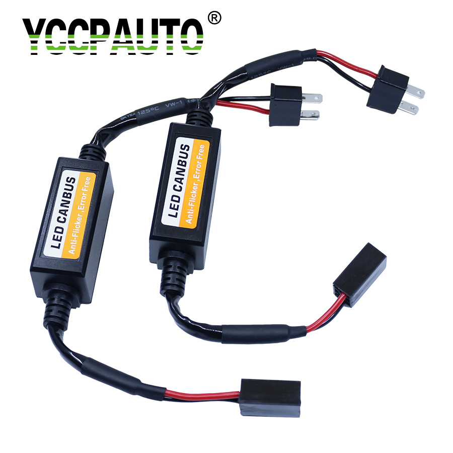 YCCPAUTO H7 H4 H8 H1 9006 9005 H3 Canbus Cable Resistor H11 HB3 HB4 LED Canceller Load No Error Flickering Decoder Wire 2PCS 2x car 1157 bay15d 1034 warning canceller error free load resistor led decoder