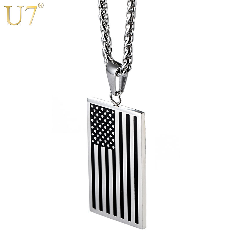 U7 American Flag, USA Patriot Freedom Stars and Stripes 4th of March Dog Tag Pendant Necklace, Gift, Men Jewelry, Stainless Steel, P72