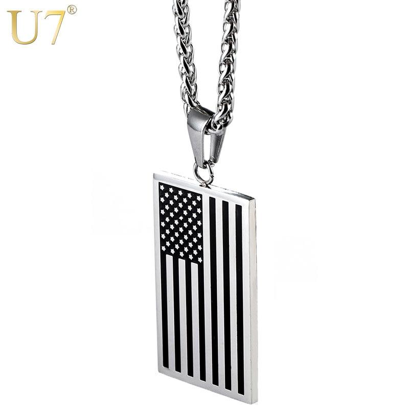 U7 Amerikanischen Flagge, USA Patriot Freiheit Sterne und Streifen 4th von Juli Hund Tag Anhänger Halskette, Geschenk, männer Schmuck, Edelstahl, P72