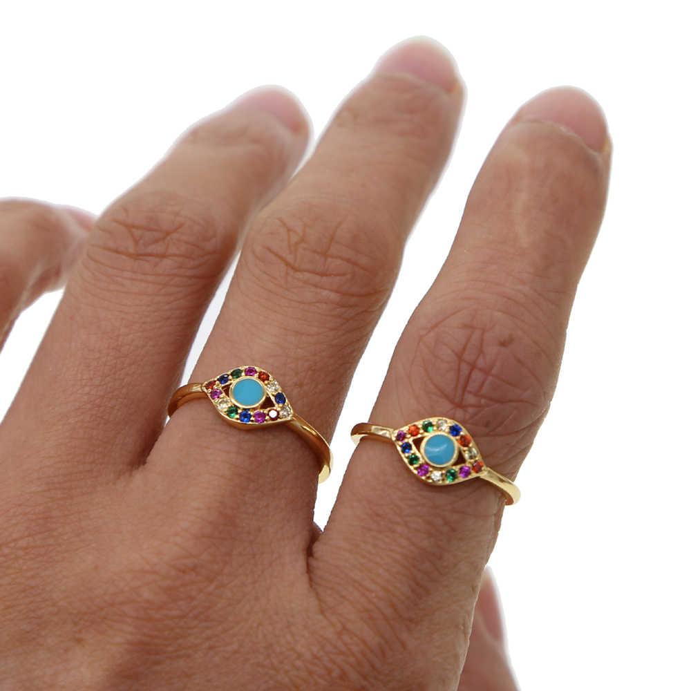 Elegant Blue เคลือบหลากสี cz Evil Eye Cubic Zirconia แหวนหญิงสาวเครื่องประดับแหวน Zircon Bague เครื่องประดับ