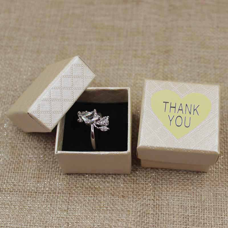 Image 3 - 30pcs per lot 4*4*3cm Fashion High Quality Paper Ring Boxes gift box with sticker label decoration jewerly box for ringpaper ring boxring boxquality ring boxes -
