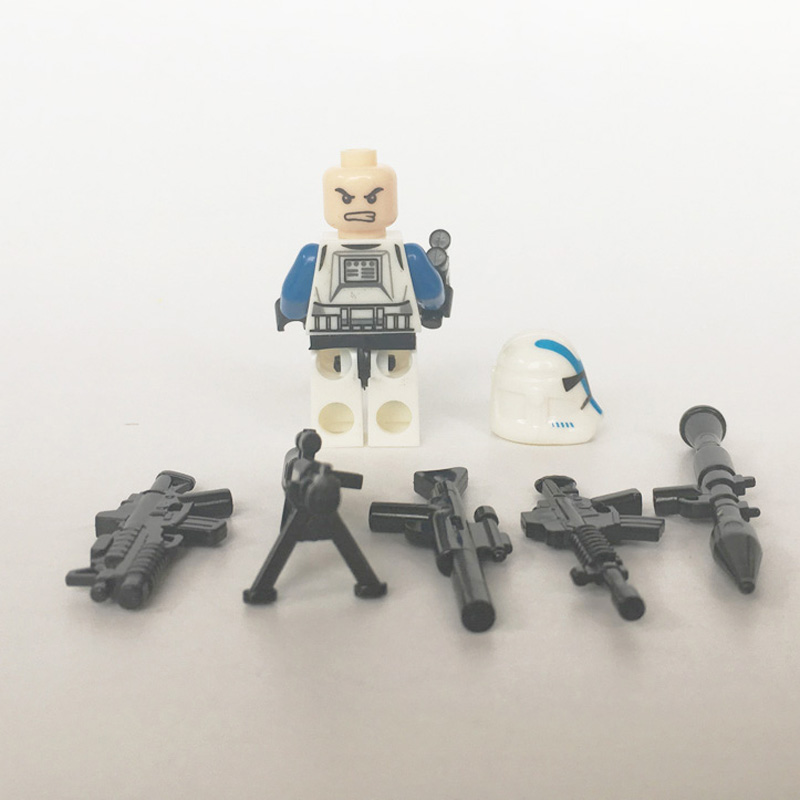 Image 3 - 21PCS/LOT STAR WARRS 501st Clone Trooper SW445 with Weapons mini figure compatible legoe building block Kids toys for ChristmasBlocks   -